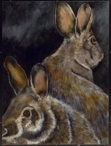 Pair of Rabbits/ Black Ground